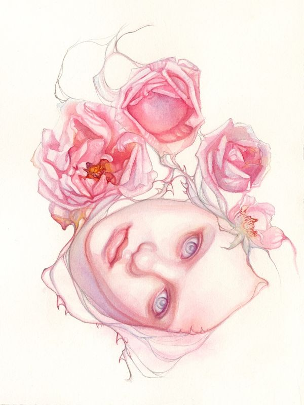 Tracy Lewis Full Bloom surreal watercolor portrait painting