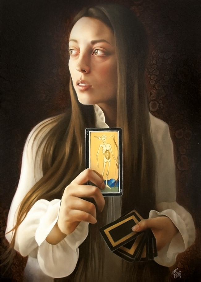 erica calardo painter self portrait the choice tarot figurative art