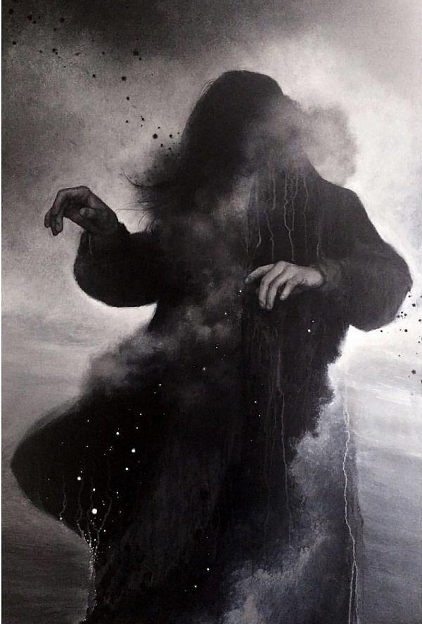 Teresa Sharpe take over Heather McLean dark painting