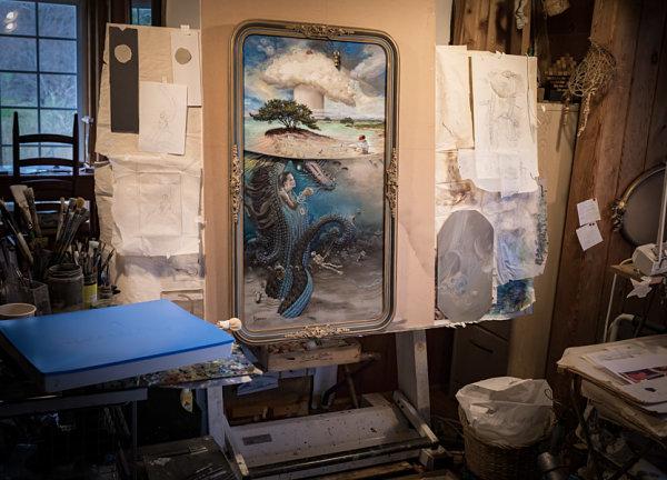 Mark Garro Lesser Godzilla surreal painting