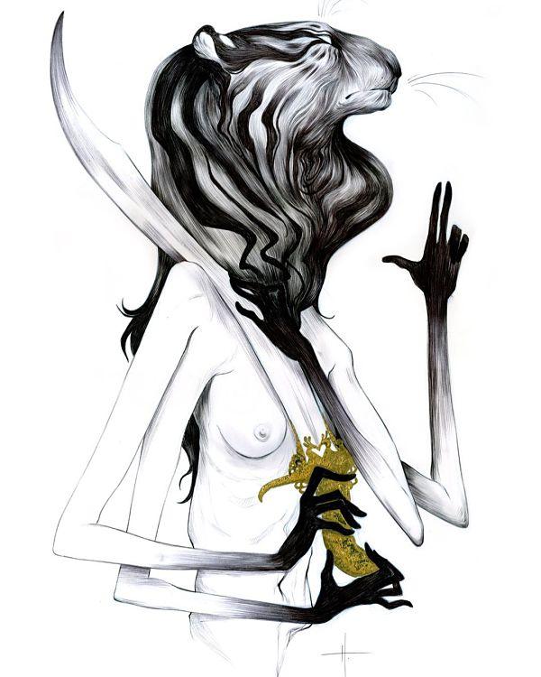 Teresa Sharpe take over Natalie Hall tiger woman illustration