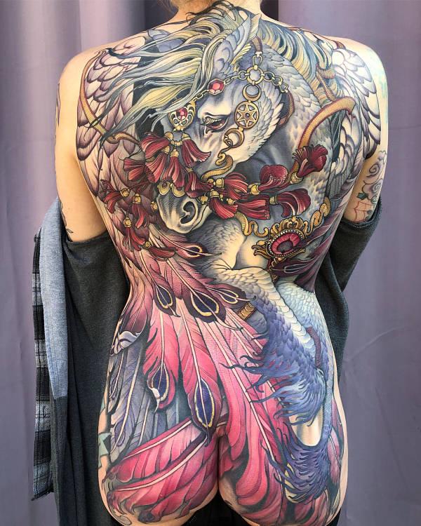 Teresa Sharpe horse back tattoo