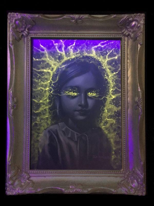 """Dienzo Agnes Spookhaus black light """"SPOOKHAUS!"""" painting"""