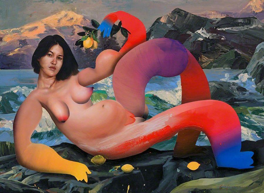 Erik Jones Pauline nude abstract painting