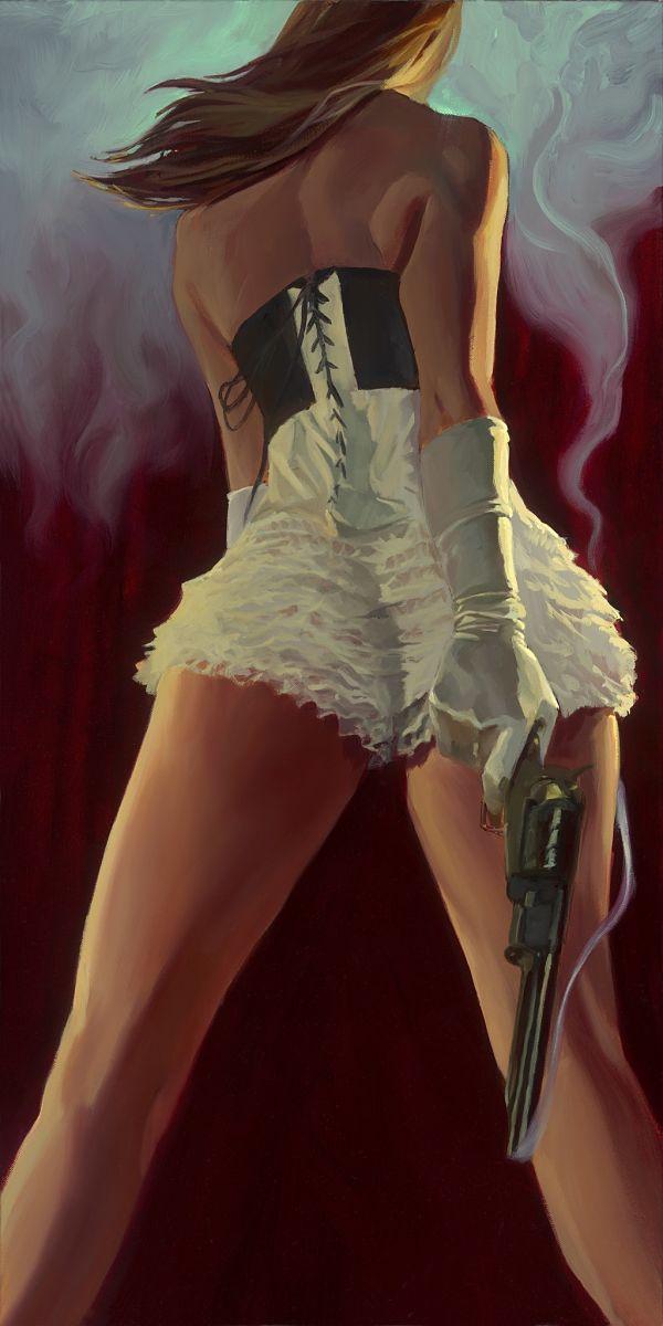 Gabe Leonard Laced female gunslinger painting