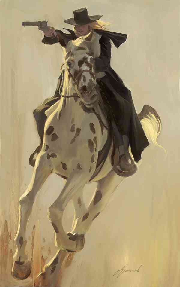 """Gabe Leonard """"Run It Down"""" outlaw gunslinger painting"""
