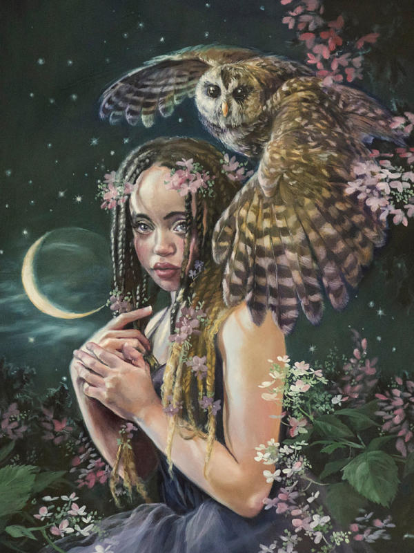 "Jennifer Hrabota Lesser ""Daughter of the Moon"" oil painting at Haven Gallery"