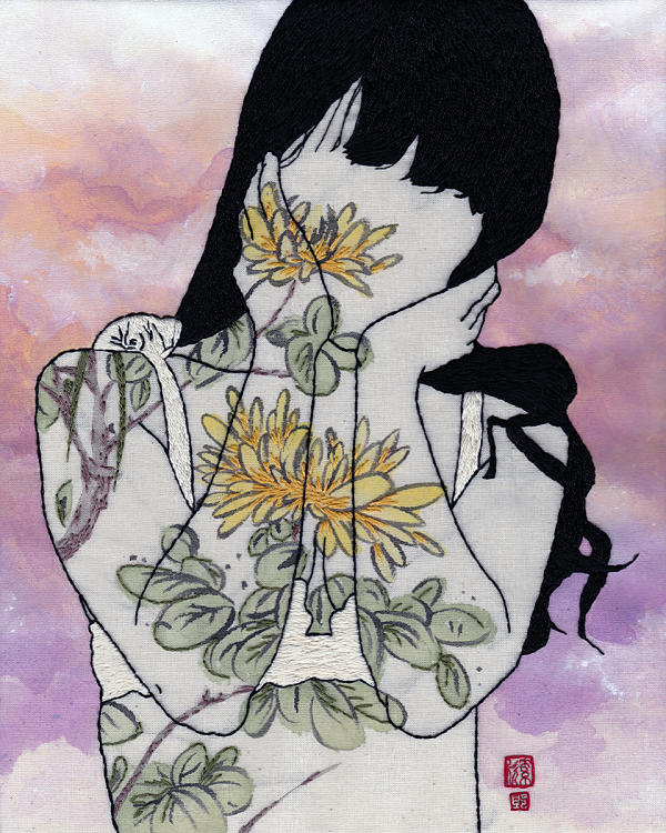 Jessica So Ren Tang chrysanthemum embroidery art