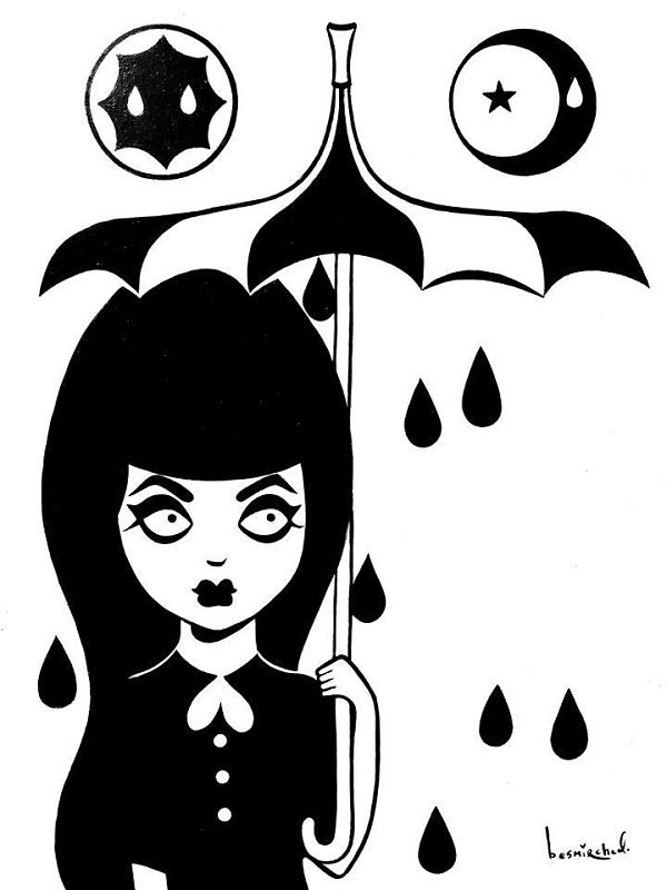 Megan Besmirched Spooky lowbrow black and white illustration
