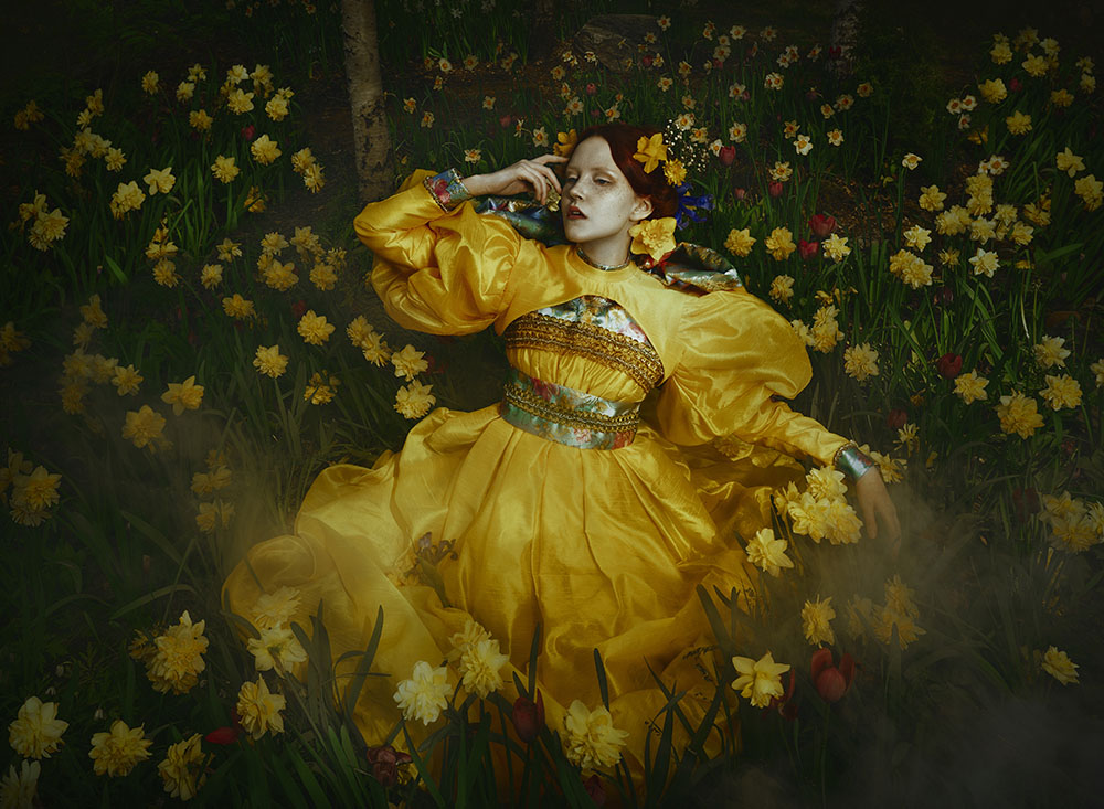 Mikaela Holmberg fine art photography yellow dress