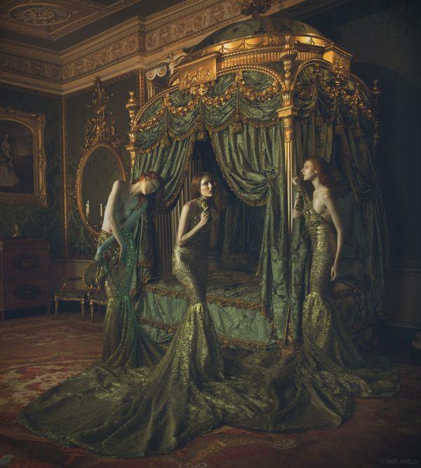 Miss Aniela Natalie Lennard Three Women In Gowns Photograph
