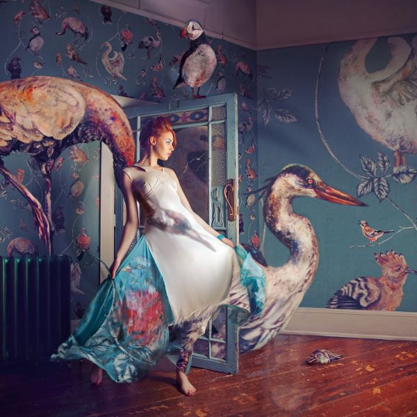 Miss Aniela Natalie Lennard Redhaired Woman Giant Birds Photograph