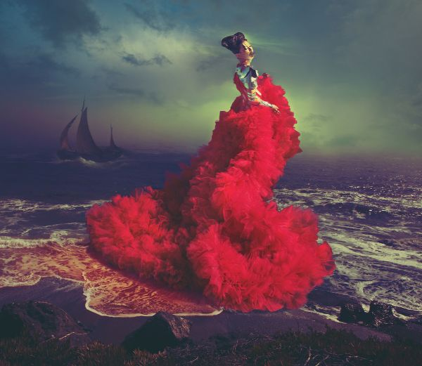 Miss Aniela Natalie Lennard Woman Red Sea Ship Photograph