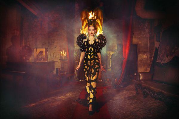 Miss Aniela Natalie Lennard Woman Flames Smoky Backdrop hotograph