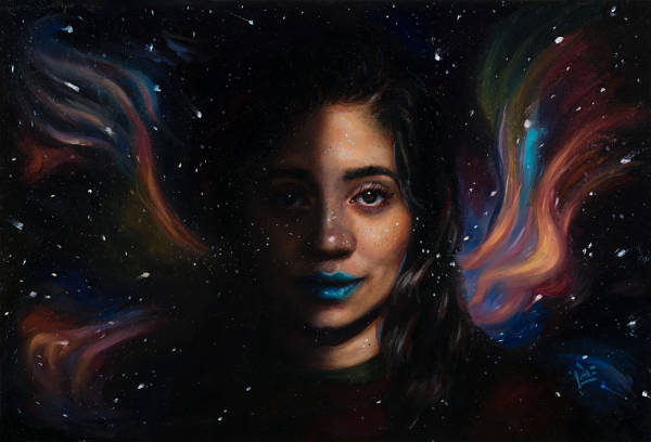 "Tiffany Dae ""Shadow Self"" galaxy portrait painting"