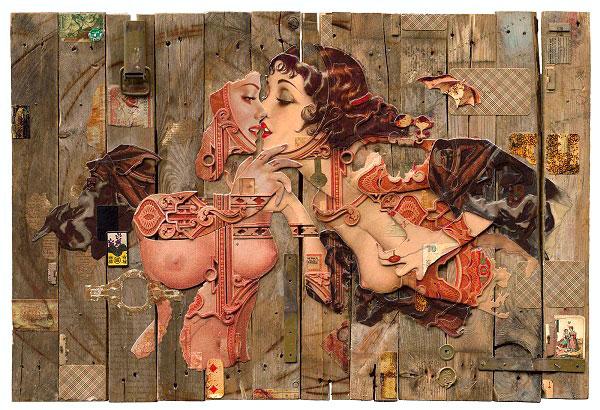 Handiedan kiss pin-up collage