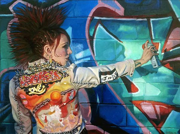 Natalia Fabia punk rock graffiti oil painting