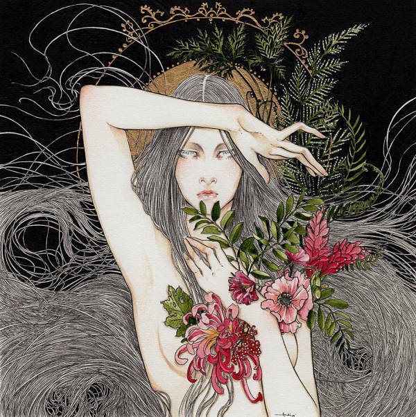 "Andi Soto ""Closing Heart"" surreal mixed media portrait"