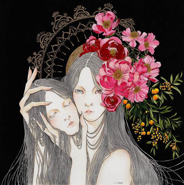 Andi Soto I Love You pop surreal two head portrait