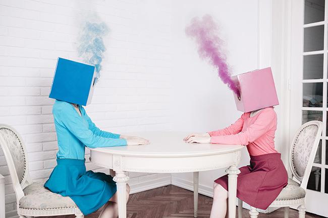 Jovana Rikalo pink and blue box heads