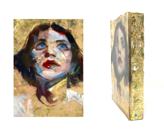 Marc Scheff mixed media resin Brian Molko portrait