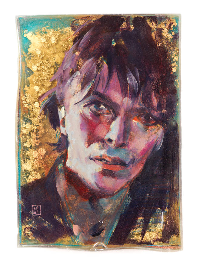 Marc Scheff mixed media resin Bowie portrait