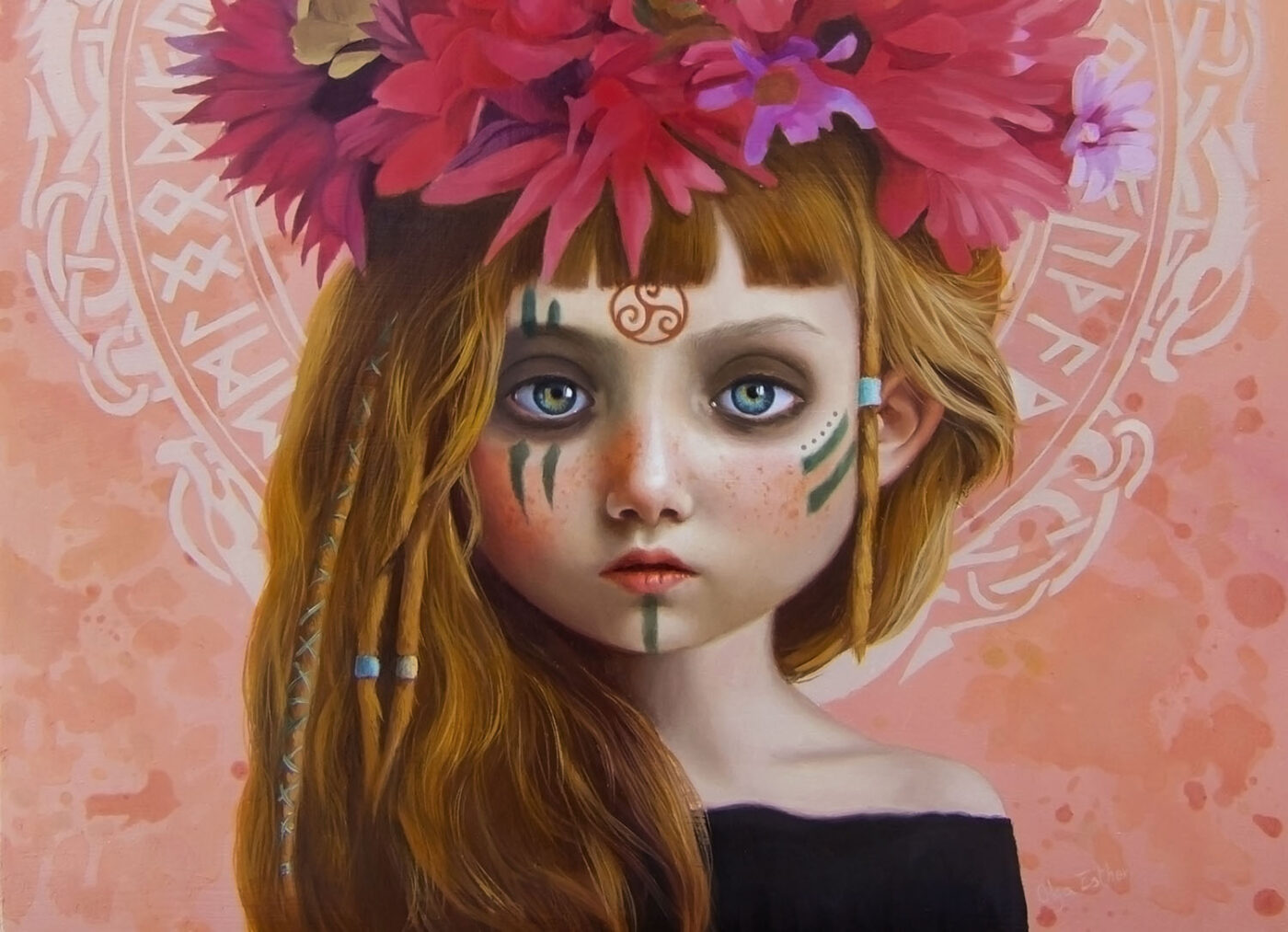 olga esther painting for the ritual art exhibition pop surrealism