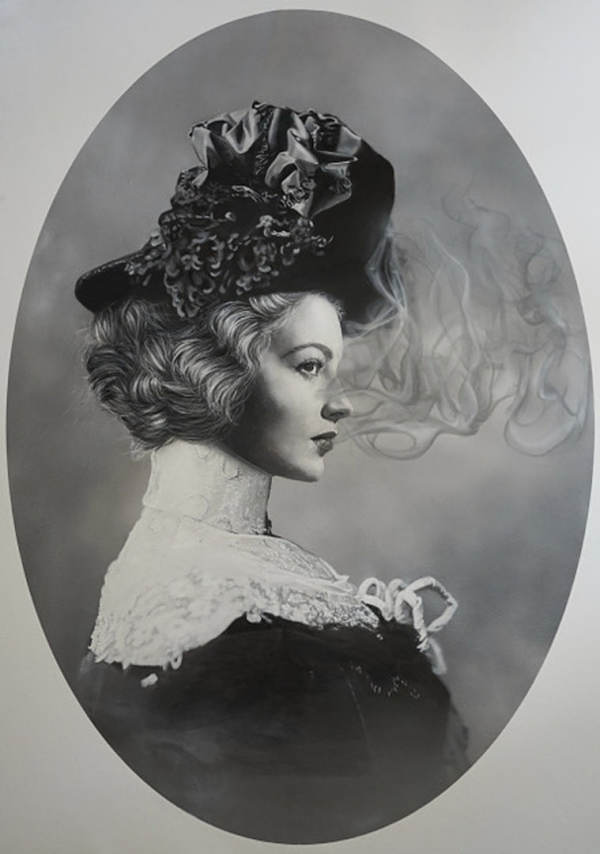 """Zoé Byland, """"Lady and smoke"""" black and white portrait painting"""