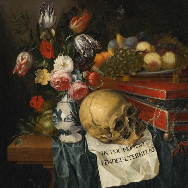 Vanitas surreal dark art skull painting