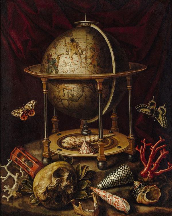 Vanitas surreal globe painting