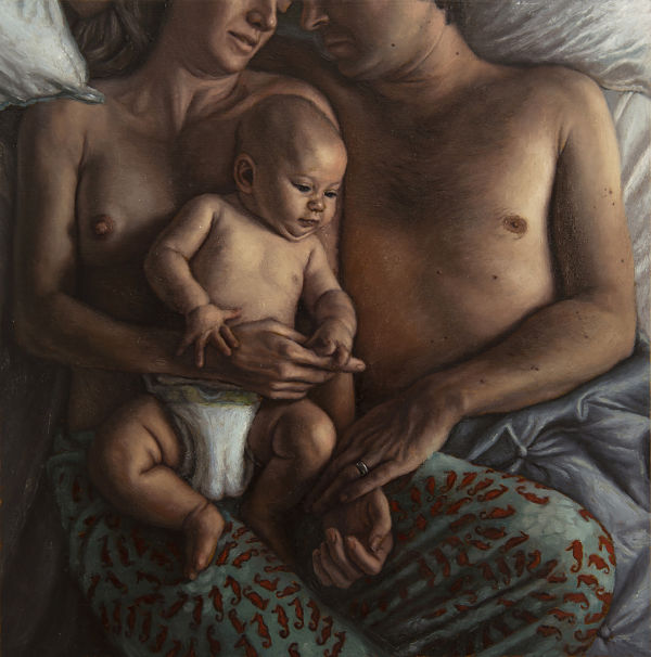 Michelle Lynn Doll realism nude couple with baby painting