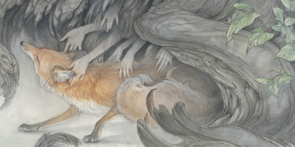 watercolor & sumi painting by artist Hope Doe. Fox touched by hands emerging from darkness. Started at IMC 2019