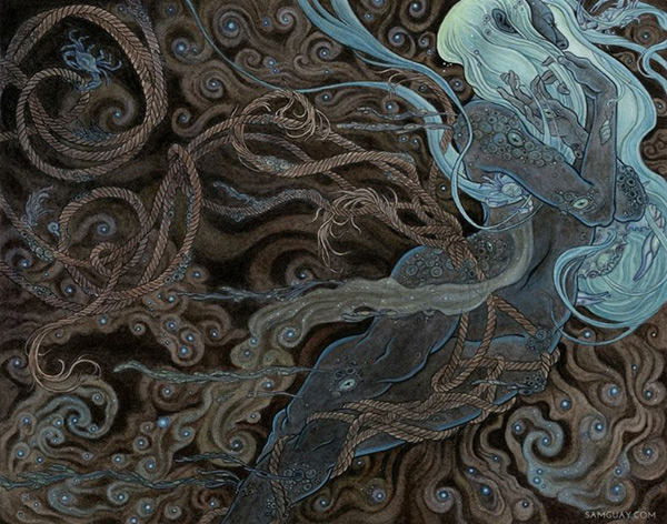 painting by artist Sam Guay 'she shines in the abyss' female figure amid spiraling ropes. Started at IMC art program 2019