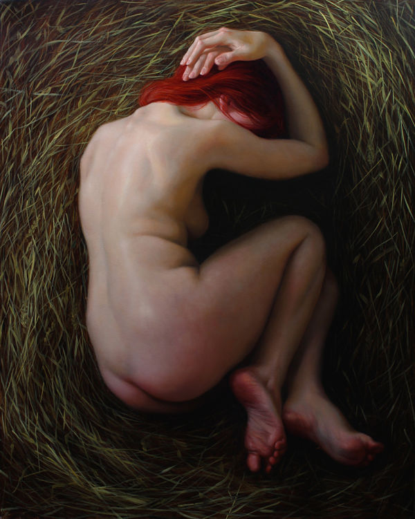 Brianna Lee nude red head painting PoetsArtists exhibition