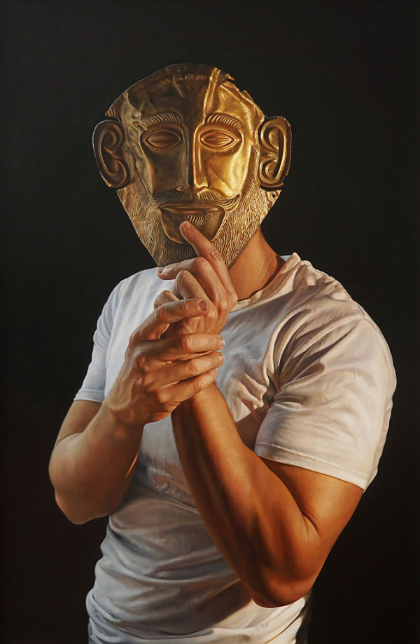 Daevid Anderson gold mask portrait painting