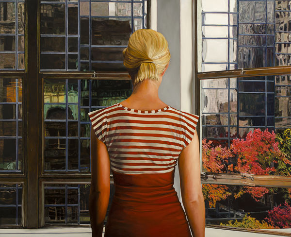 Dianne Gall woman in stripes looking out window painting PoetsArtists exhibition