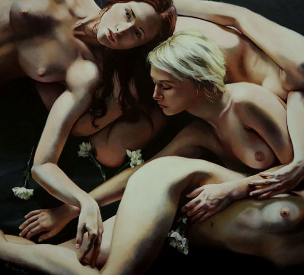Kimberly Dow nude female form painting PoetsArtists exhibition