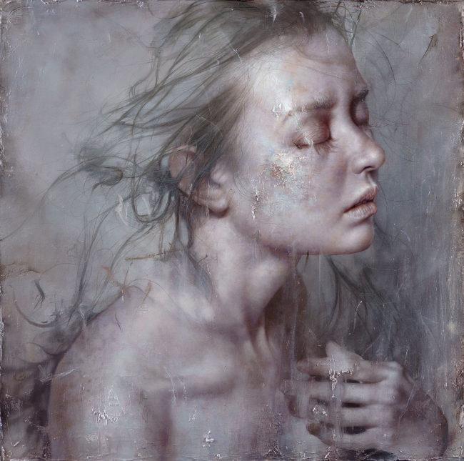 Lo Chan Peng - The Rain portrait painting