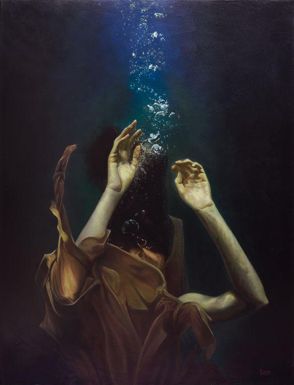 Mark Heine woman underwater realism portrait painting