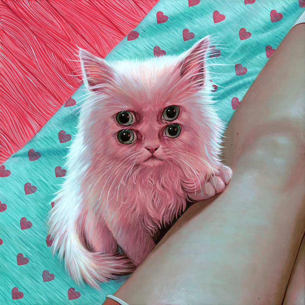 pop surrealism painting of a many eyed kitten by artist casey weldon published in issue 27 of beautiful bizarre art magazine