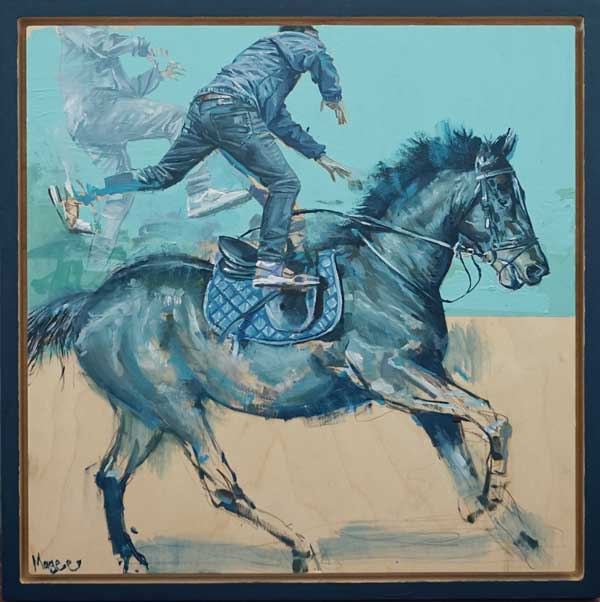 Fintan Magee man and horse surreal blue painting