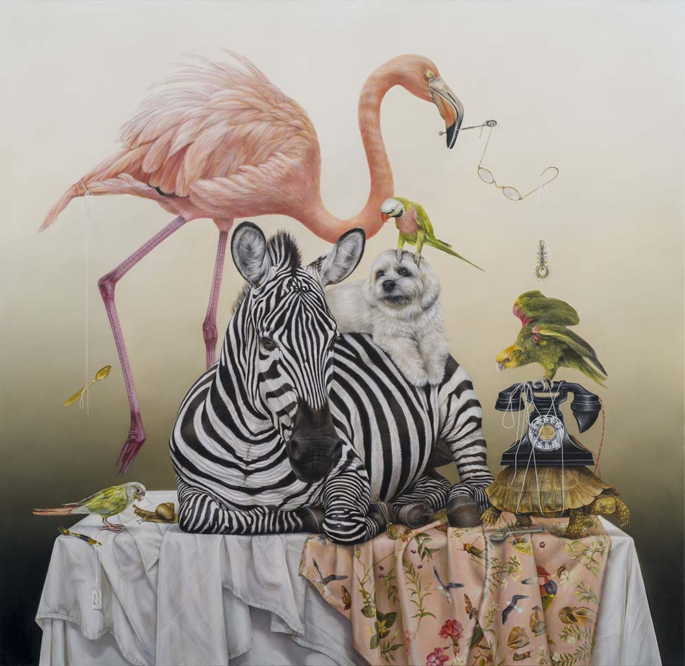 surreal painting of wild animals by kate bergin published in beautiful bizarre art magazine issue 27