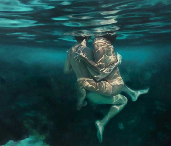 Martine Emdur underwater couple painting