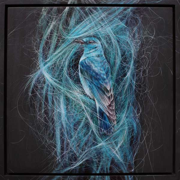Roos van der Vliet blue bird blue hair painting