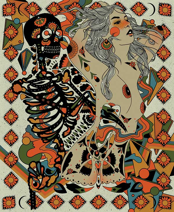 cassidy rae marietta_woman dancing with skeleton