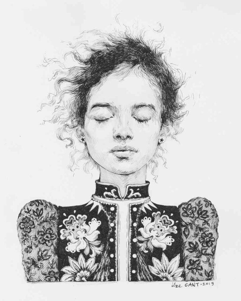 Ilze Cant sleeping portrait ink