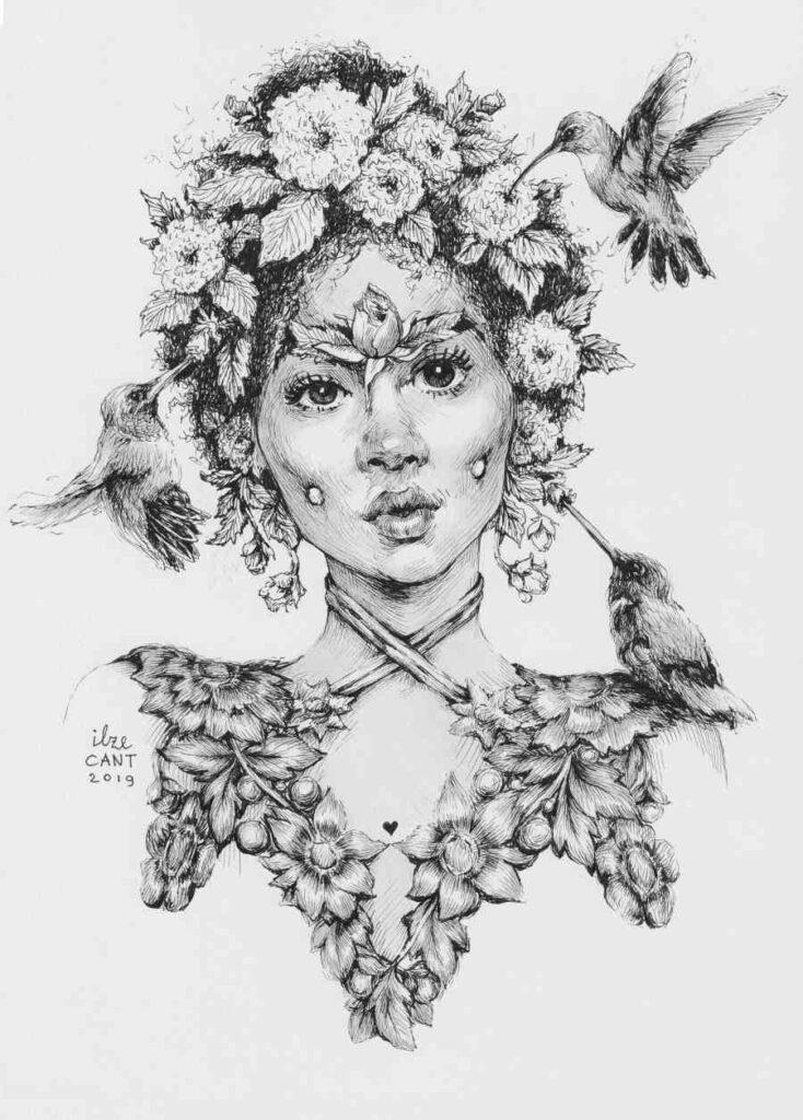 Ilze Cant ink pen flowers in hair