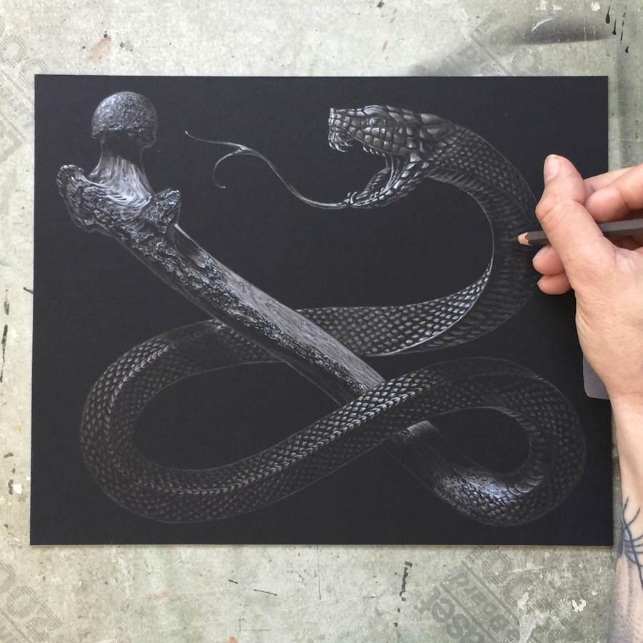 Marald van Haasteren - Original Sin snake drawing
