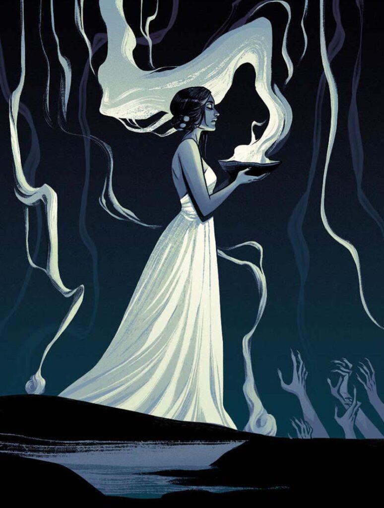 Becky Cloonan - The-Summoner - magic magician priestess painting