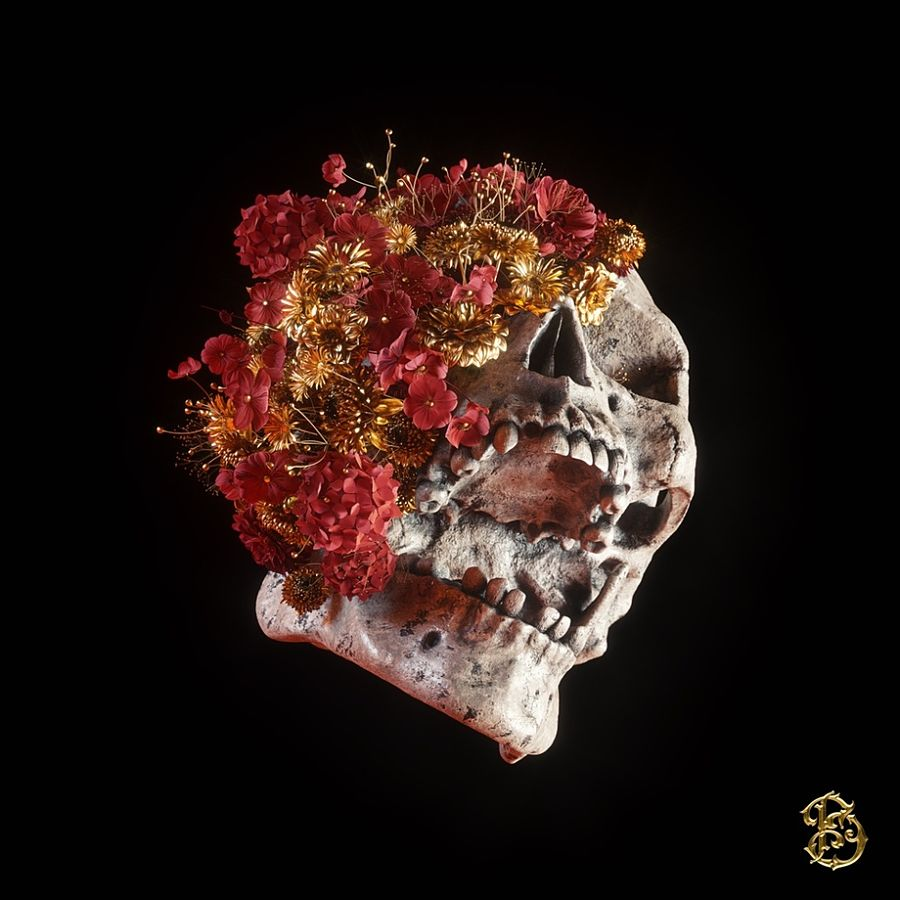 Billelis blossoming skull digital art